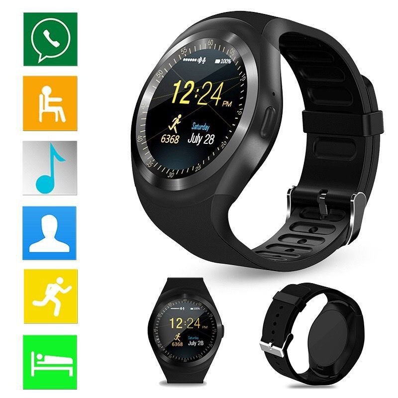 Y1 Smartwatch Bluetooth Montre Smart Watch Reloj Relogio 2g GSM SIM App Sync Mp3 pour Apple iPhone Xiaomi Android Téléphones PK DZ09 KW18