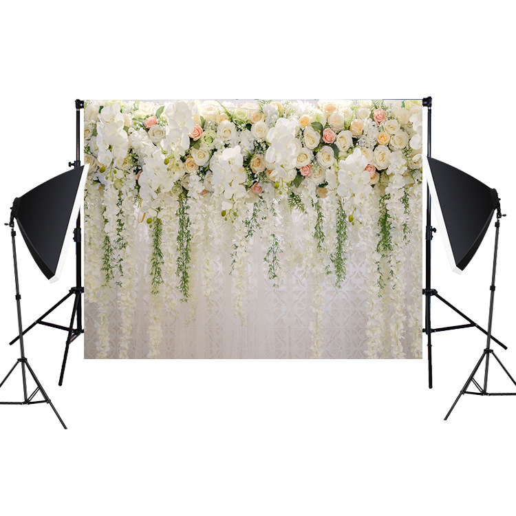 Bridal Shower Large Wedding Floral Backdrop White Rose 3d Flowers Dessert Table Decoration Wister Photography Background Buy One Get One Free Consumer Electronics