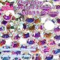 CrystalAB ClearAB  Nail Art Rhinestone For Nail  Decorations SS3-SS48 Round Non Hotfix Flatback Crystal Stones