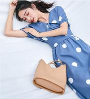 2019 new fashion women's dresses French polka dot dress with long loose tie
