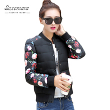 Stand Collar Plus Size 2016 Women College Flower Printing Autumn Bomber Tops Varsity Manteau Femme Basic Outerwear Coat Jacket