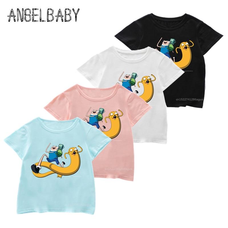 Girls Boys Cartoon Adventure Time Finn and Jake Print T Shirt Kids Summer Soft Tops Children Funny T-shirt,5200L(China)