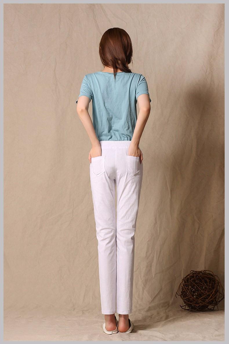 Women Ankle Length linen pants casual pencil pants sport pants Slim solid spring summer autumn trousers for women plus size A375 e