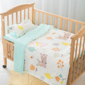 3pcs /Sets Pastoral Style Cartoon Pattern Cotton Baby Colorful Three-piece Baby Bedding Kids Love Bed Sets