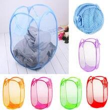 09524c26b Tela de malla de Nylon plegable cesta de lavandería grande casa ropa sucia  bolsa lavado niño juguete almacenamiento organización.