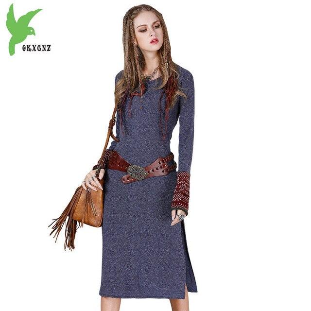 дешево вязаное платье женщины 2018 весна осень с длинным рукавом