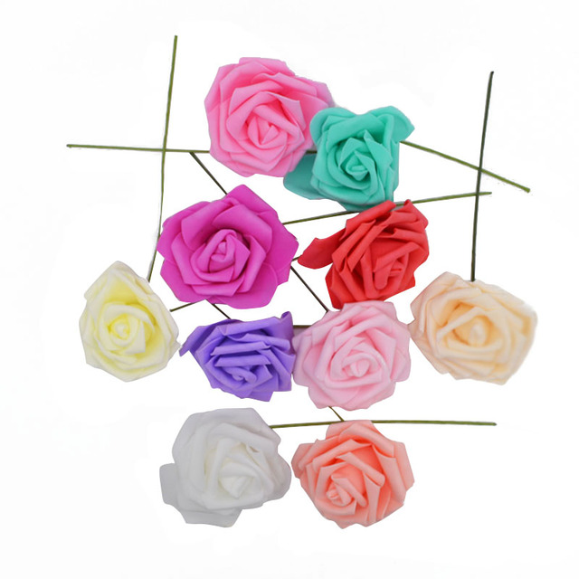 25 Heads 8CM New Colorful Artificial PE Foam Rose Flowers Bride Bouquet Home Wedding Decor Scrapbooking DIY Supplies 4