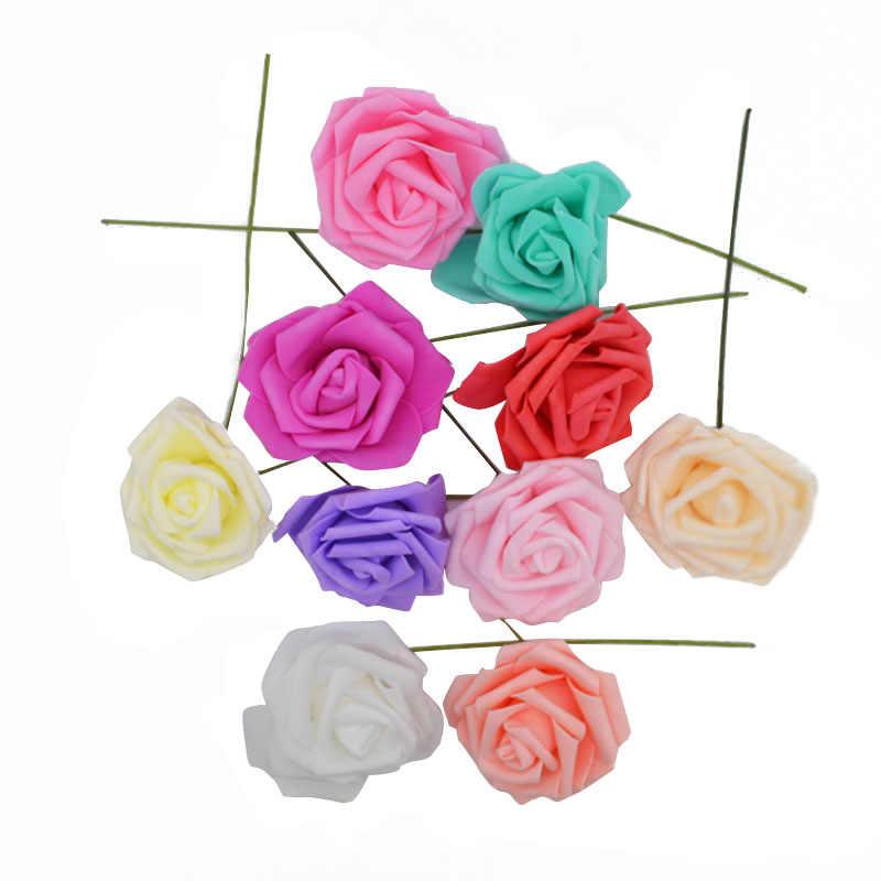 25 голов 8 см новые красочные искусственные из ПЭ пены розы цветы невесты Свадебный букет Декор Скрапбукинг DIY принадлежности