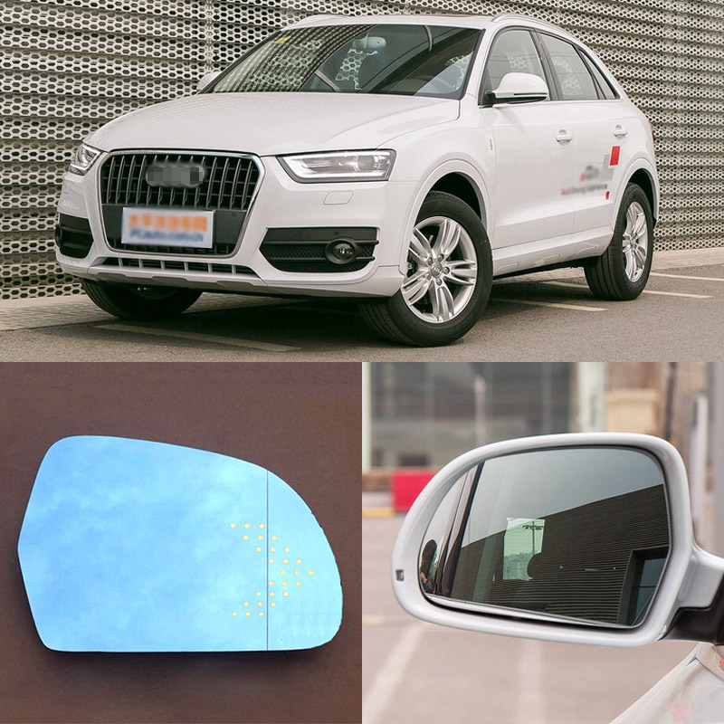 For Audi Q3 Brand New Car Rearview Mirror Blue Glasses LED Turning Signal Light with Heating for volkswagen sagitar brand new car rearview mirror blue glasses led turning signal light with heating