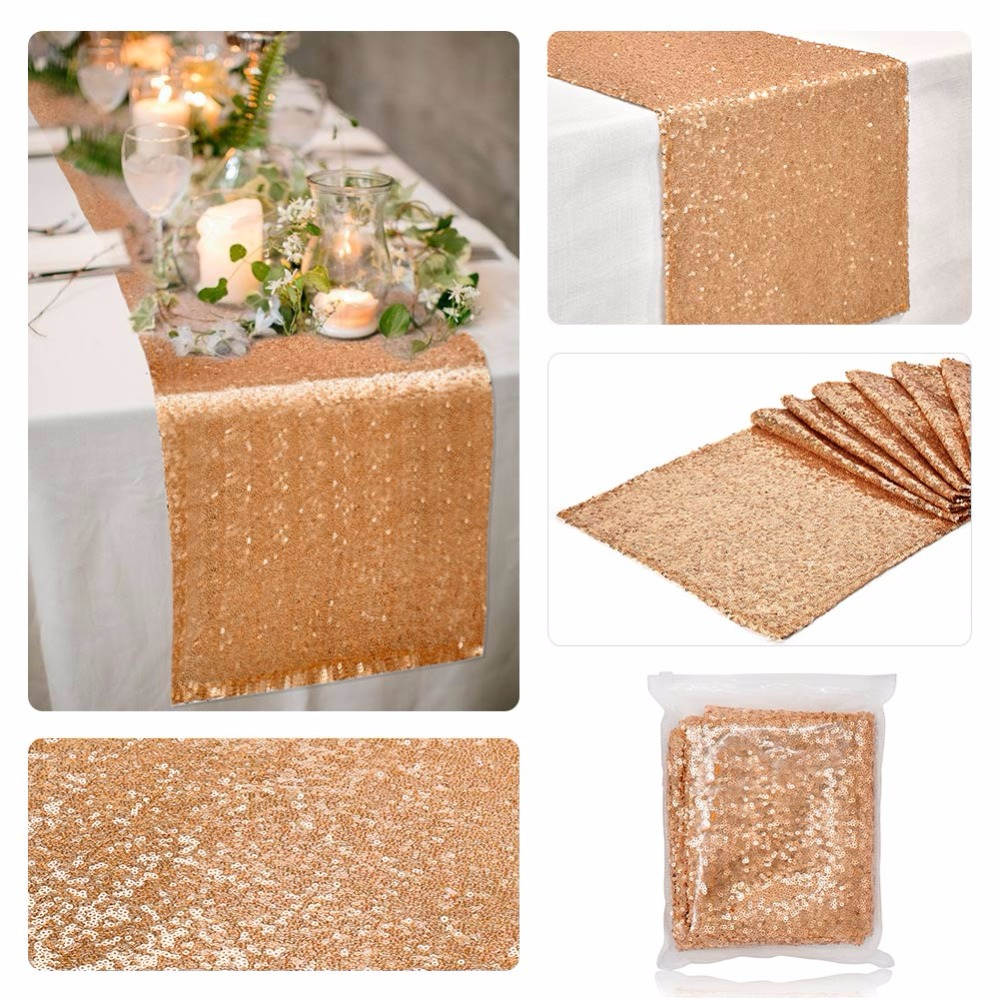 Ourwarm 30*275cm Bling Sequin Table Runner For Wedding Banquet Home Tablecloth Decoration Event Party Supplies Gold Silver Party Diy Decorations