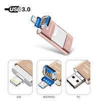 PenDrive 3 in 1 USB Flash Drive For iPhone X/8/7/7 Plus/6/6s/5/SE/ipad OTG Pen Drive Memory Stick 8GB 16GB 32GB 64GB 128GB