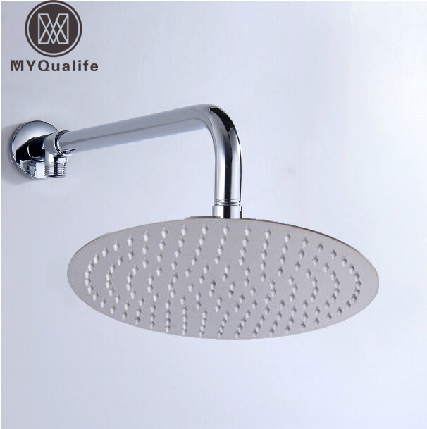 12  Stainless Steel Rainfall Shower Head Ultrathin Style Chrome Finish Wall Mount Shower Arm