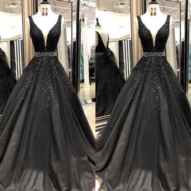 Abiye gece elbisesi 2019 Black Long Prom Dresses with Beading V Neck Ball Gown Appliques Lace Saudi Arabic Evening Dress Gown-in Prom Dresses from Weddings & Events    1