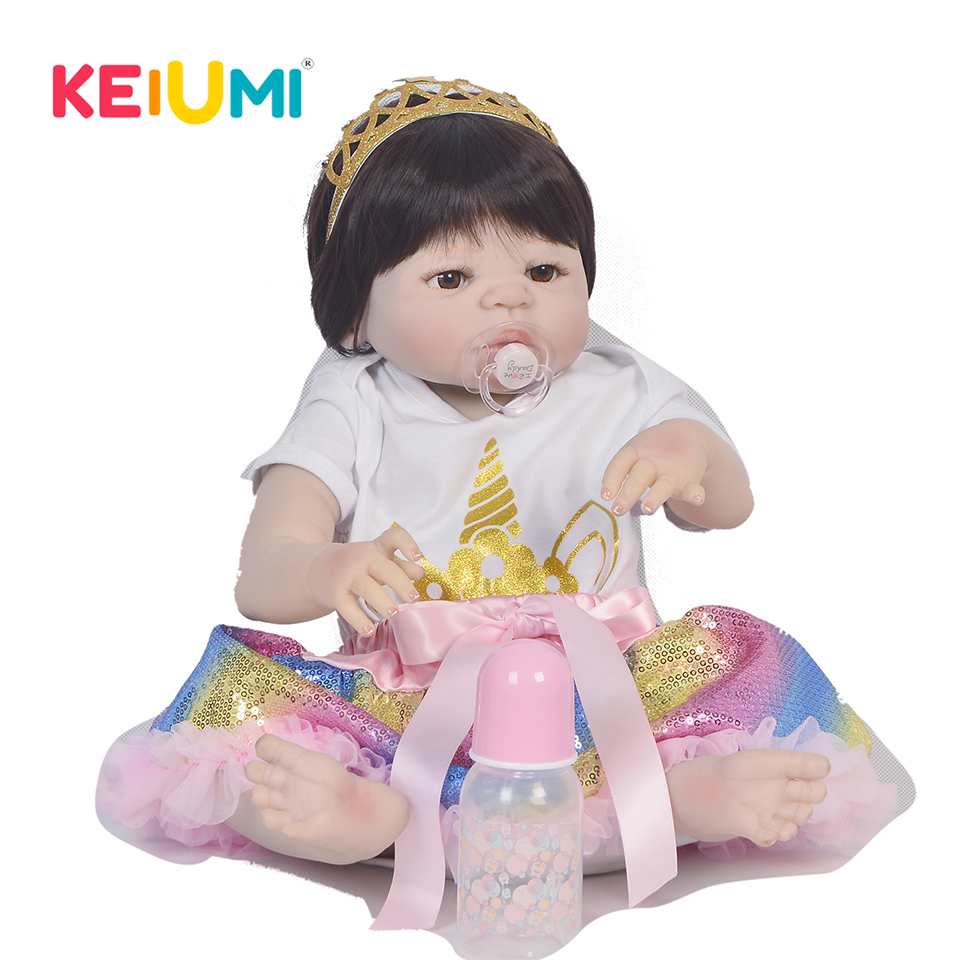 KEIUMI 23'' Bebe Alive Princess Reborn Bonecas Handmade Reborn Baby Doll Girls Full Silicone Vinyl Boby Doll Child Birthday Gift все цены