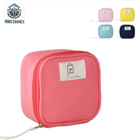 Pure Cotton Fresh Small Makeup Bag Korean Style Travel Digital Lines Lipstick Storage Organizer Multi Function