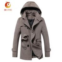 2017 Spring Winter Woolen Coat Windbreaker Men S Coat Hooded Long Section Men S Woolen Coat