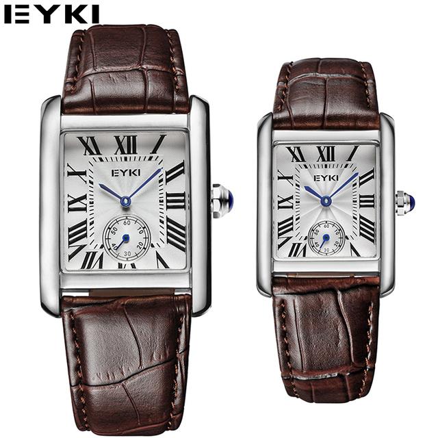 EYKI Rectángulo Relojes Para Hombre de Negocios Oficina Orologio Uomo Segundos Amantes Relojes Montres Hommes Cuero Genuino EET8865