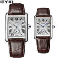 EYKI Rectangle Mens Watches Business Office Orologio Uomo Seconds Display Lovers Watches Genuine Leather Montres Hommes EET8865