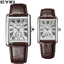 EYKI Top Brand Luxury Rectangle Dial Leather Band Quartz Watches Women Men Couple Watches 2017 Wrist Watches Relogios #EET8865