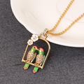 Lovely Two Parrots Flower Pendant Necklace For Women Simple Elegant Sweet Romantic All-match Bird Sweater Necklace High Quality