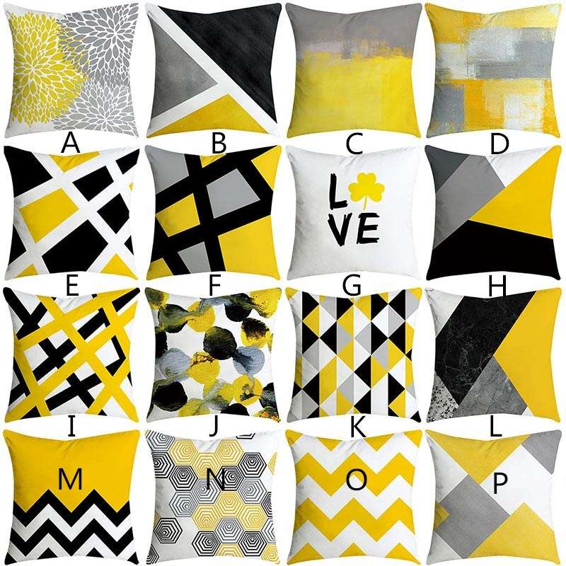 2019 Brand New Pineapple Leaf Yellow Pillowcase Square Flax Pillow Cushion Bed Pillow Cover Pillowcase High Quality