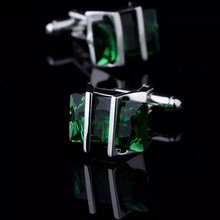 Bridegroom Wedding Evening Party Business Men French Shirts Cuff Links Silvery Cufflinks Green Crystal Cufflink With Gift Bag(China)