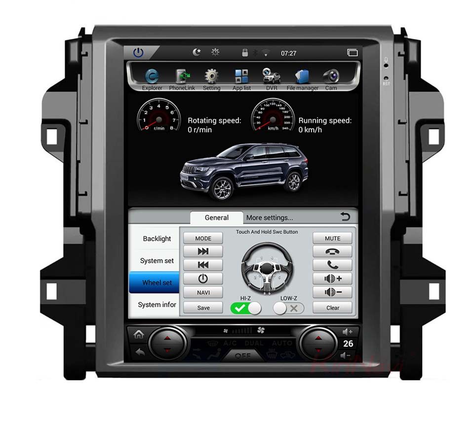 12.1 tesla style vertical screen android 7.1 Quad core Car GPS radio Navigation for Toyota Fortuner SW4 2016 2018