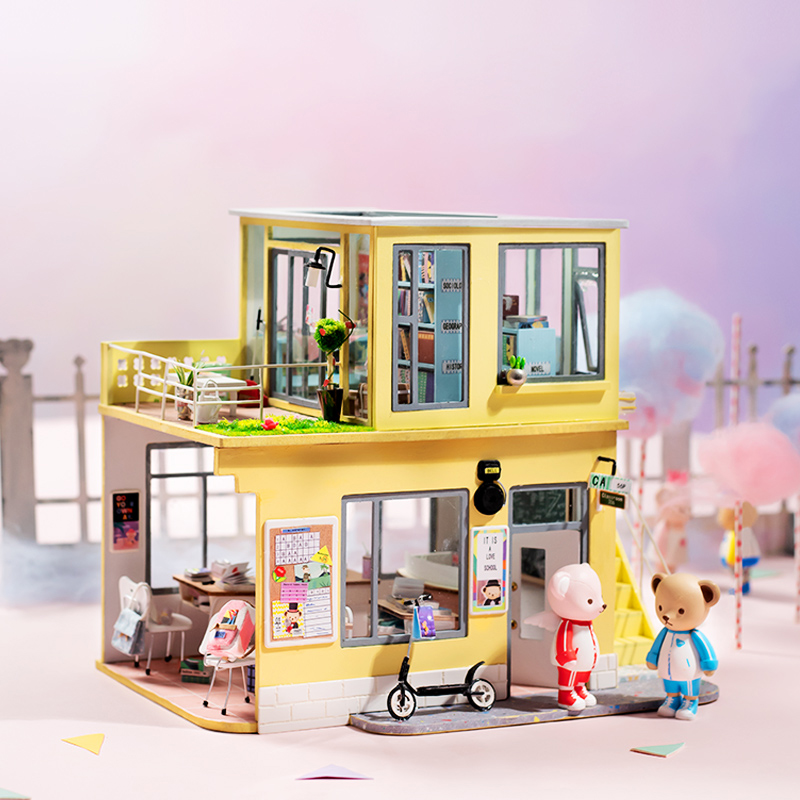 Robotime bricolage maison de poupée en bois maisons de poupée Miniature Kit de meubles de maison de poupée avec LED jouets pour enfants livraison directe TD04
