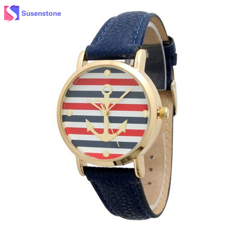 Fashion New Striped Anchor Watch Women 2018 Leather Band Ladies Casual Analog Quartz Bracelet Wristwatch Relogio Feminino fashion watches relogio feminino hot montre women s casual quartz leather band new strap watch analog wrist watch wristwatch