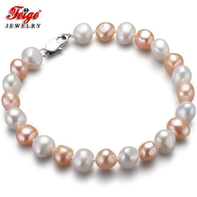 FEIGE New special offer Baroque style 7-8MM White/Pink Natural Freshwater Pearl Bracelet For Women Fine Jewelry Pulseras