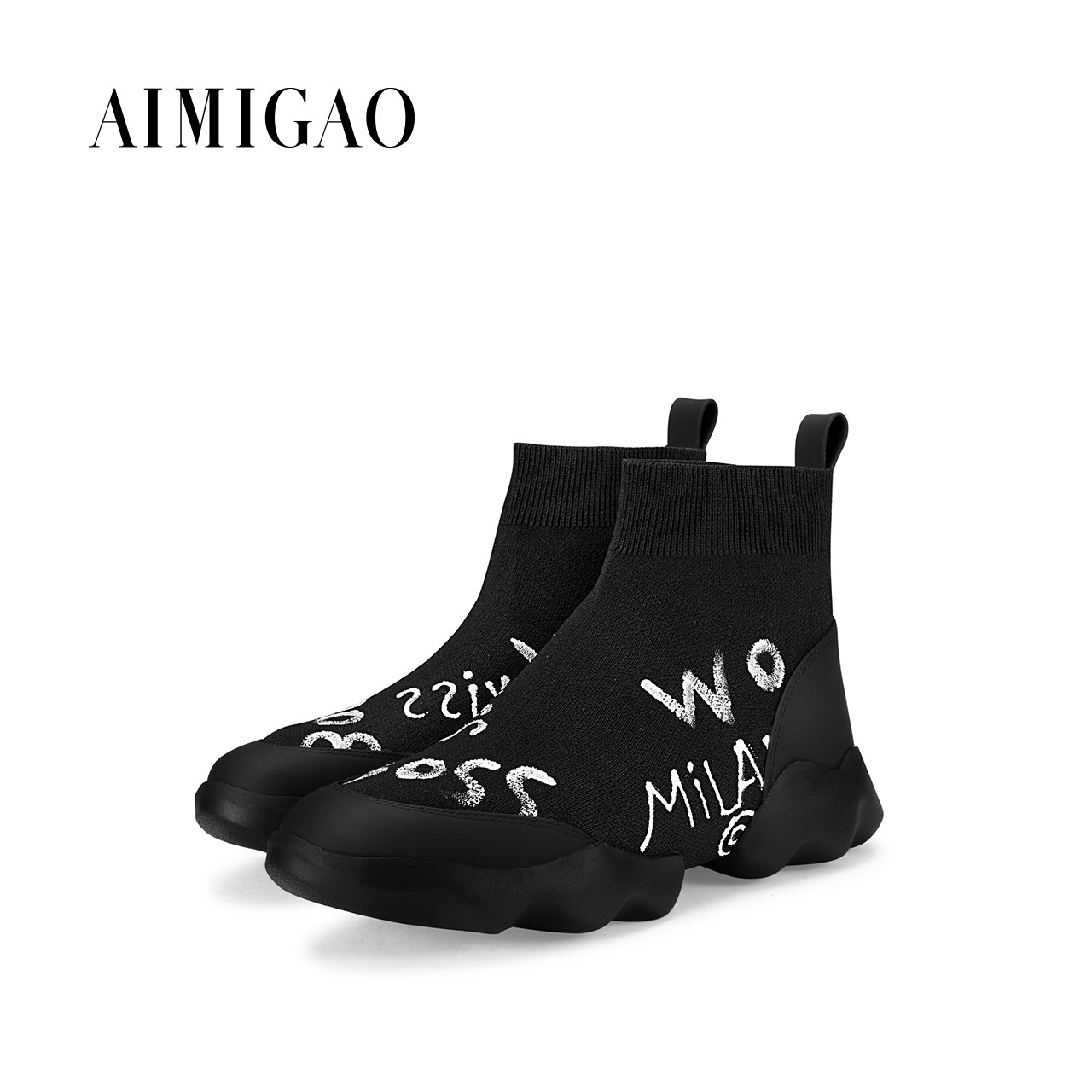 AIMIGAO Hand-Painted ankle boots para mulheres round toe platform comfortable thick bottom women casual shoes 2017 autumn new