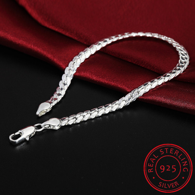 LEKANI 925 bracelet en argent Sterling bijoux fins 5 MM 20 cm serpent plat homme chaîne Bracelet brassard/pulsera pour hommes