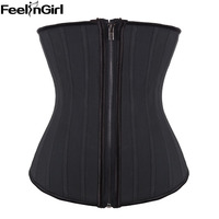 Promotions ! 25 Steel Bone Sexy Latex Corset Corselet with Zipper Solid Black Bustiers Underbust Waist Trainer B NOT THE HOOK