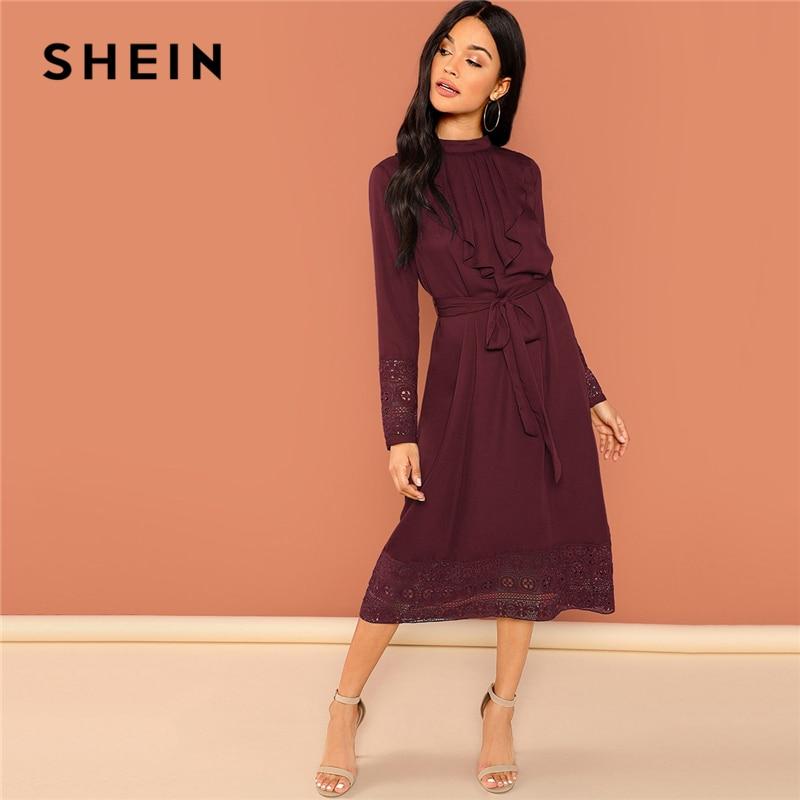 Шеин бордовый элегантный сплошной поясом плиссированные рюшами отделкой Контрастность кружево платье с длинными рукавами Осень ПР Спецод...