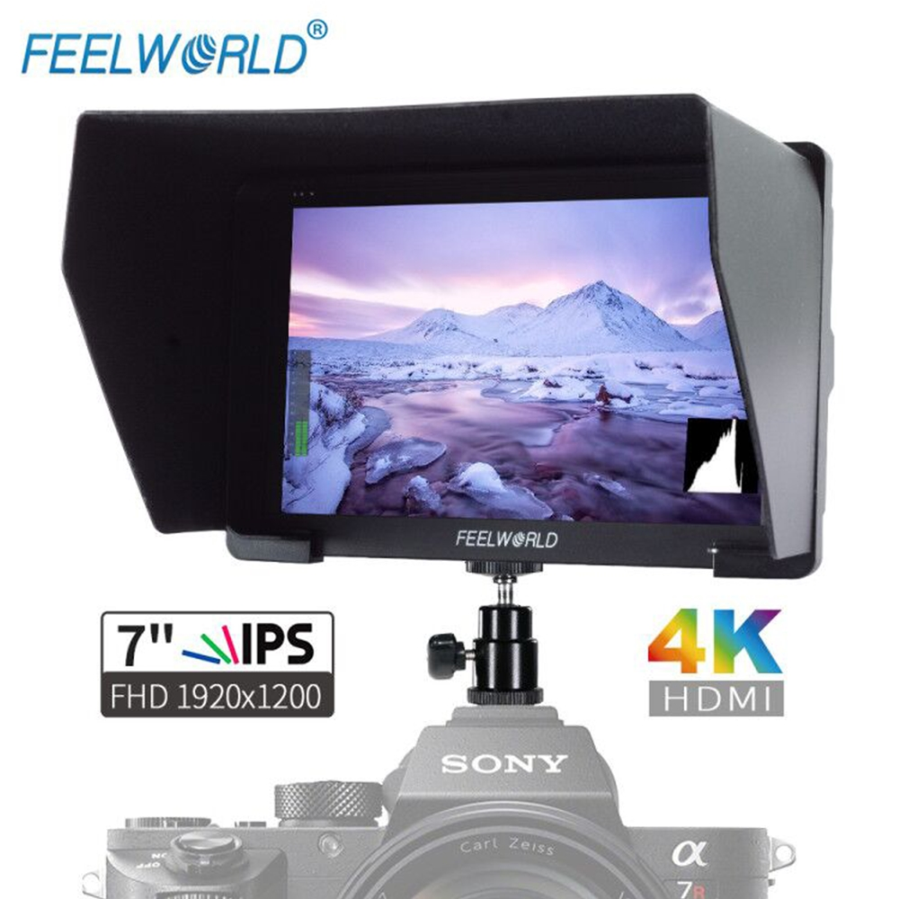 Feelworld 7 IPS 1920x1200 FHD 4K HDMI Camera Field Monitor with Peaking Focus Histogram Zebra for Camera DSLR Gimbal Rig FH7