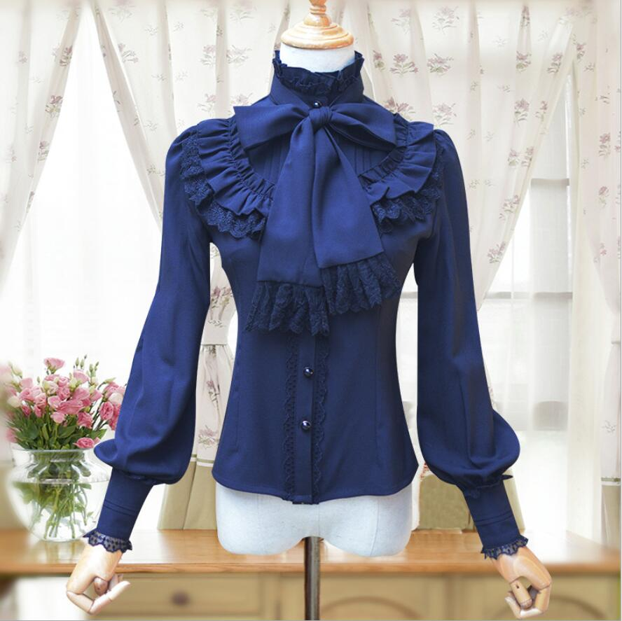 Vintage femme chemise manches longues gothique mousseline de soie dentelle à volants Blouse rouge/noir/blanc/bleu marine lolita victorienne chemise de chambre - 4