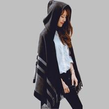 Высокое качество, женский зимний шарф, модный Полосатый Черный Бежевый пончо и накидки с капюшоном, толстые теплые шали и шарфы, женская верхняя одежда