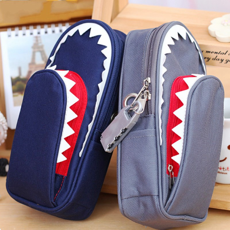 Image 2 - Super Large Capacity Creative Shark Canvas School Pencil Case Pencil Bag Pen Bag with Code Lock-in Pencil Cases from Office & School Supplies