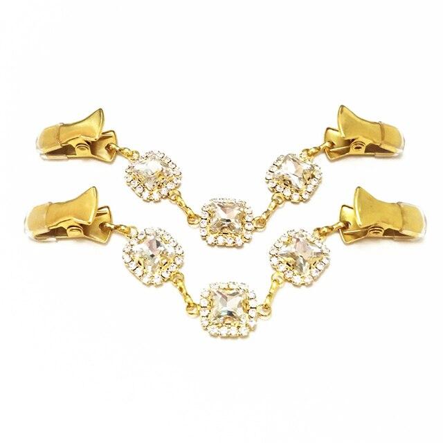 9adb4f03ec3 Women Cardigan Clip Chain White Crystal Sweater Button Wedding Brooch Cinch  Dress Gold Shawl Buckle Collar Pins