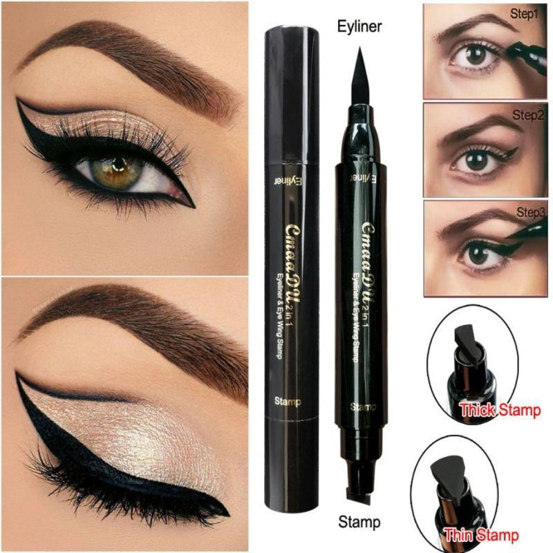 Double head Eyeliner Waterproof Liquid Eyeliner Tattoo Stamp Eye Liner Pencil Long-last Eyeliner Women Beauty Make Up Tools