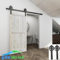4 9FT 6FT 6 6FT Antique Style Carbon Steel Wood Barn Sliding Door Hardware Kit