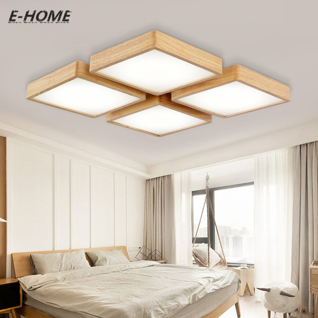 Nieuwe moderne effen plafond eenvoudige woonkamer lamp Japanse hout ...
