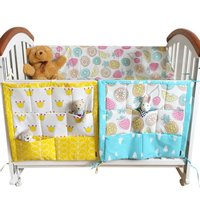 60 50cm Animal Print Baby Cot Bed Hanging Storage Bag Crib Organizer Toy Diaper Pocket For
