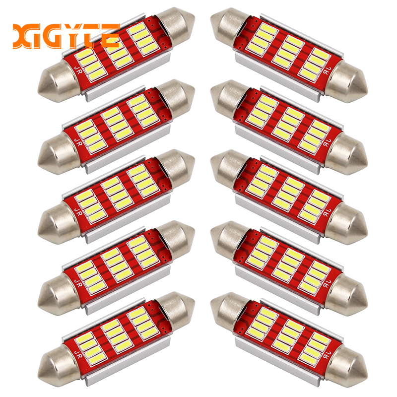 10PCS Festoon 31mm 36mm 39mm 41mm C5W CANBUS NO Error Auto Light 12 SMD 4014 LED Car Interior Dome Lamp Reading Bulb White DC12V