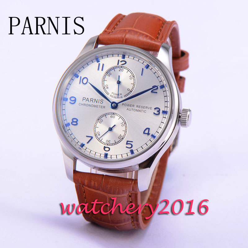 2017 New 43mm Parnis silver dial brown strap ST mens watches military army Automatic Power Reserve movement Mens Watch inventory accounting