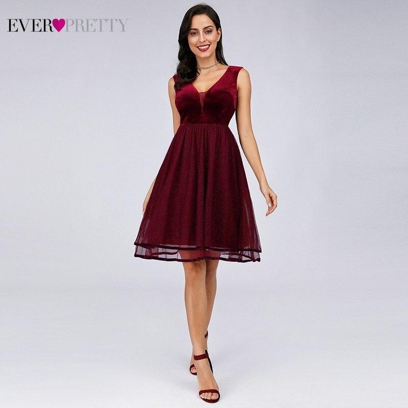 Ever Pretty Burgundy   Cocktail     Dresses   A-Line V-Neck Tiered Tulle Sparkle Short Formal   Dresses   EZ03074BD Vestidos Coctel 2019
