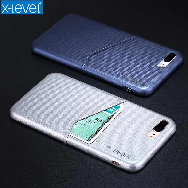 X-Level Luxury Business Card Case for Apple iPhone 7 Plus/8 Pus Hard PC Back Cover for iPhone 8Plus 7Plus Fitted Case Back Shell