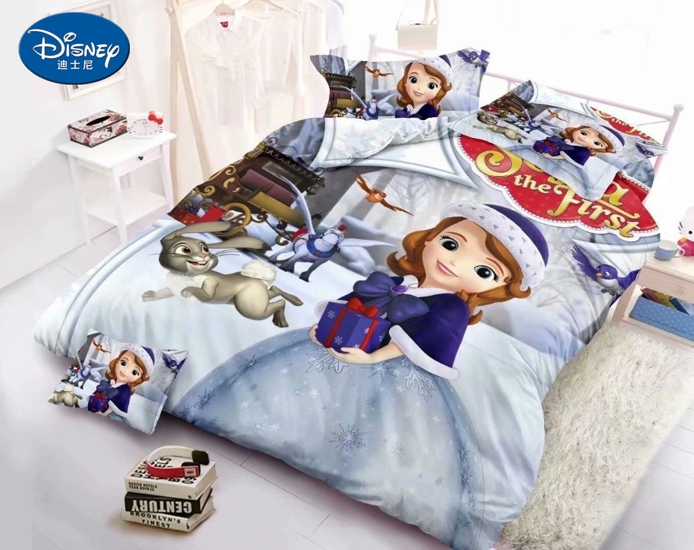 Bedding Sets Home Textile 3pcs Girl Bedding Set Soft Bed Linings Children Cartoon Frozen Princess Sofia Duvet Cover Pillowcase Bed Sheet Delicacies Loved By All