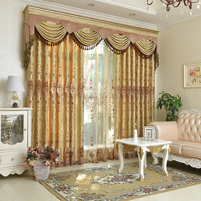 Slow Soul Yellow Coffee Hollow Embroidered Curtains Europe Floral Curtain  Cortinas For Living Room Tulle Kitchen