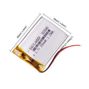 10pcs/Lot 3.7V 350mAh Rechargeable li Polymer Li-ion Battery For Flash lighting DIY DVR GPS Consumer electronics Device  303040 2